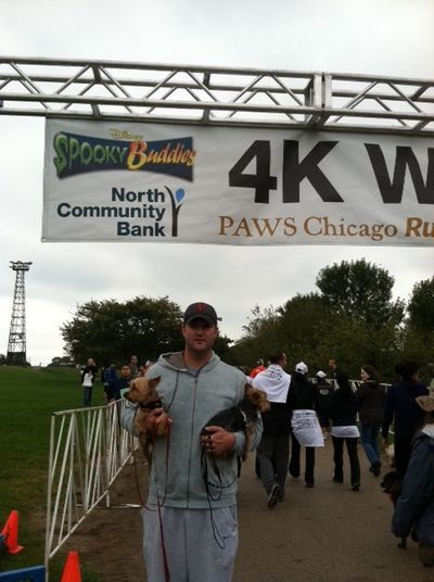 Beeg boys finish line PAWS walk